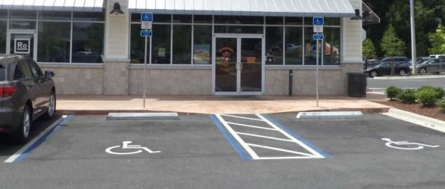 Handicap parking and ramp access for disabled individuals outside a Florida store front.