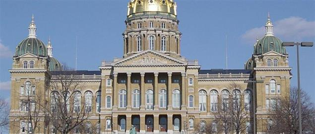 Iowa State Capitol in Des Moines, Iowa, after the dome was regilded in 23 karat gold.