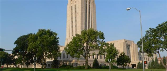 Nebraska State Capitol in Lincoln, Nebraska; seen from the northeast.
