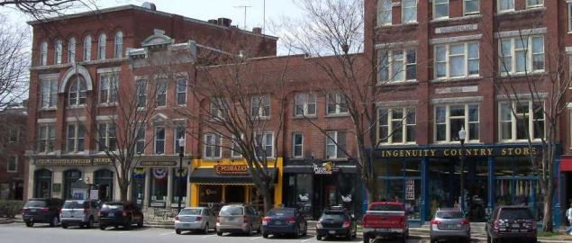 Small Businesses line the Central Square in downtown Keene, New Hampshire.