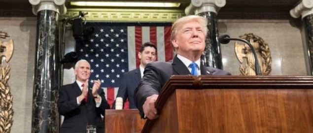 President Donald Trump delivering the 2018 State of the Union Address