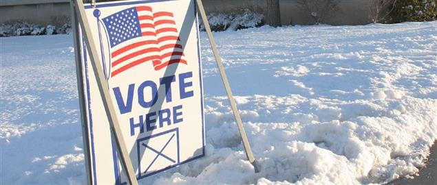 Vote Here sign outside of a Presidential Primary voting place in Utah