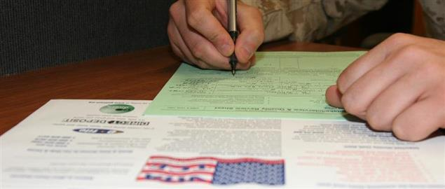 Marine preparing his taxes