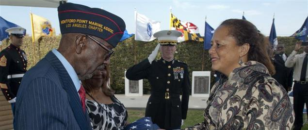 Marine Corps Master Sgt. Emanuel Caesar presented with the Congressional Gold Medal