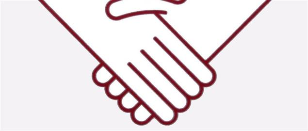 A stylised imaged of the handshaking gesture.